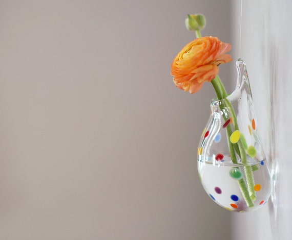Blown Glass Wall Decor : Wall decor hanging glass vase hand blown polka dot