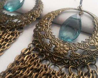 Burnished Brass Filigree Hoop Earrings with Teal Briolettes