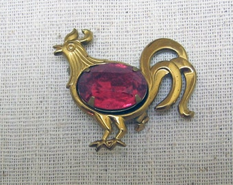 Rhinestone Rooster or Chicken Pin, Vintage Brooch, Pink Rhinestone