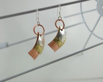 sterling Silver,Brass and Copper layered trio earrings