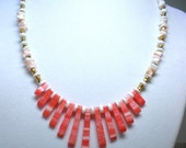 Pink Coral Necklace, Puka Shell Necklace, Surfer Girl, Boho Chic