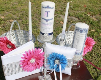 His and Her Wedding Accessories.....Unity Candle Set, Memorial Candle, Holders, 2 flower Baskets, Ring Pillow, Guest Book and Rhinestone pen