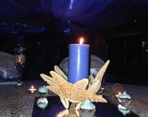 Beach Wedding Decor, Sugar Starfish Centerpiece,  Candle Holder, Tabletop Decor