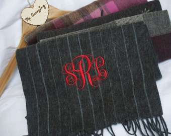 Monogrammed Gifts, Unisex Wool Scarf, Holiday Gift for Him & Her, Embroidered Customized Scarf