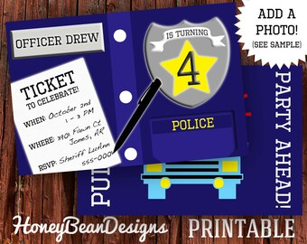 PRINTABLE Police Birthday Invitation Photo Police Car Officer Sheriff with Free Back Side
