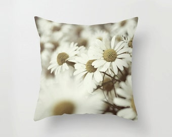 Pillow Cover, Daisies Everywhere, nature photography, photography white yellow throw pillow cover
