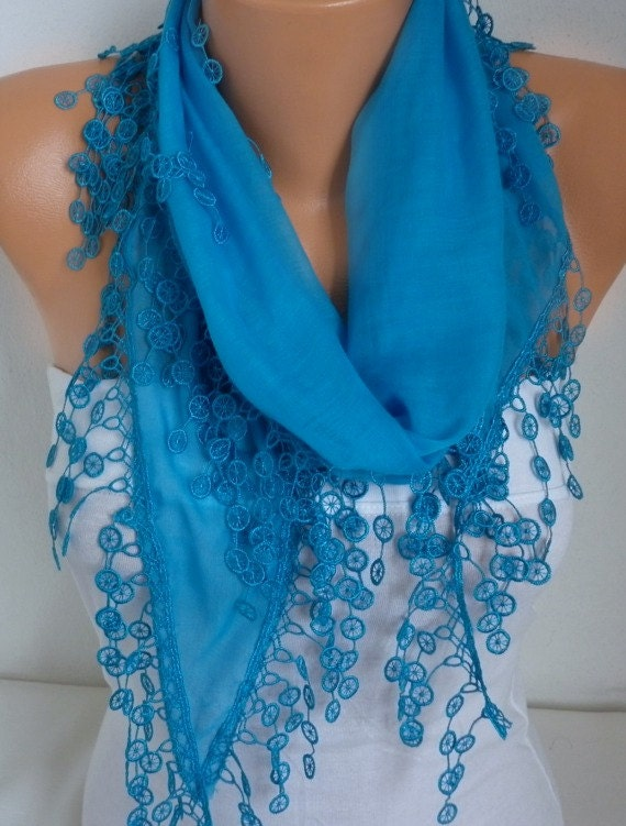 Turquoise Scarf  Fall Fashion Shawl Cowl Scarf  Cotton Scarf  Bridesmaid gift Weddings Scarves Gift Ideas For Her Women Fashion Accessories