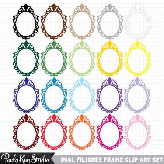 80% OFF SALE Frame Clip Art Antique Filigree Oval Instant Digital Downloadable Image Clipart Frames Digital Border
