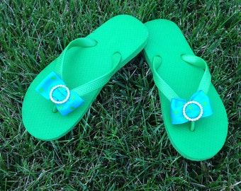 Apple Green Flip Flops -100% Brazilian Rubber Adorned With Aqua Blue and Green Polka Dot Bow w/Rhinestone Slider