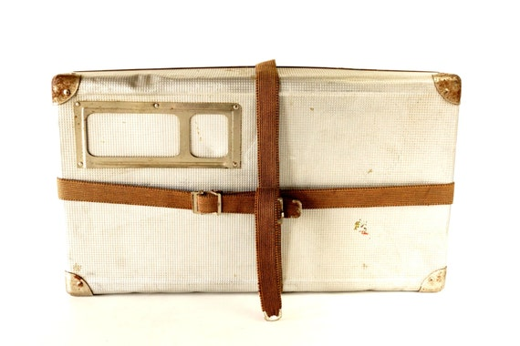 Vintage Airway Silver Metal Shipping Box with Canvas Straps (c.1950s) - Hard-to-Find Large Storage Box, Industrial Home Decor