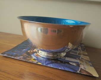 Reed and Barton silver bowl with blue interior.  Paul Revere style silver bowl with blue interior.  Silver and blue.