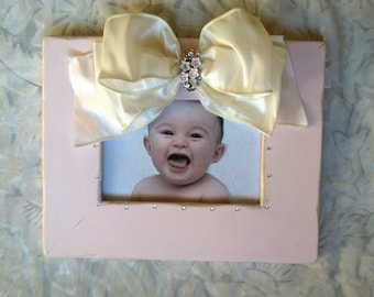 Baby Photo Frame Pink Bow Personalize Girl Jewel Flower Bling Shabby Chic