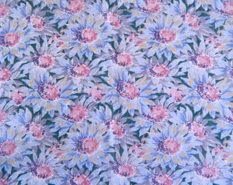 Vintage Floral Fabric Remnant .. 1980s Cotton Floral Material in Blue .. Semi Sheer .. 2 Yards