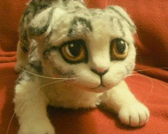 Scottish Fold Kitten Sculpture - OOaK -  Needle Felted Pet Cat Sculpture