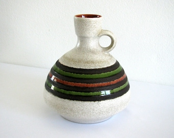 Mid Century West Germany Pottery Jug, W Germany Pottery Vase