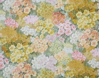 Retro Wallpaper by the Yard 70s Vintage Wallpaper - 1970s Floral Pink and Gold Hydrangea Blooms