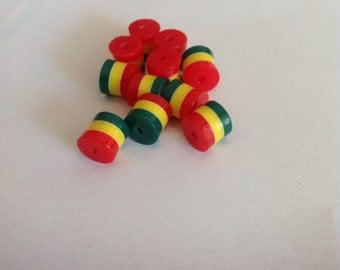 50pcs Red Rasta African colored Resin Beads 9mm x9mm