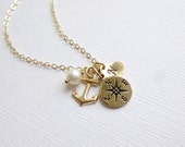 Gold Compass Anchor Initial Heart Necklace -- Personalized --  Graduation -- Journey
