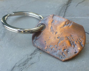 READY TO SHIP--Rugged Soul - Distressed Copper and Stainless Steel Keyring
