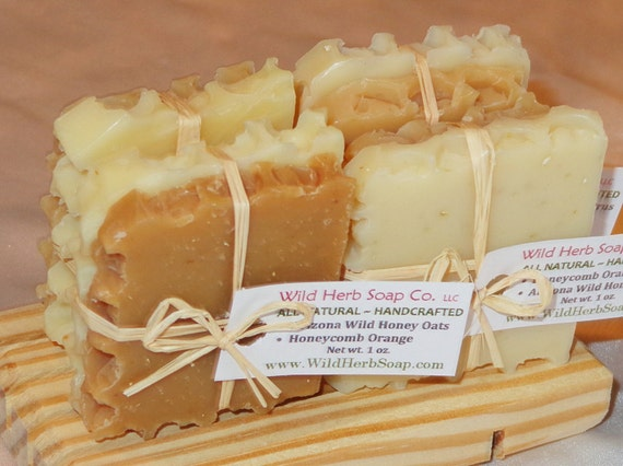 All Natural HONEY Soap Sets - 2 Travel size soap slices each - PERFECT SAMPLES