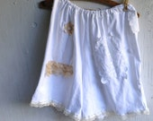 CUSTOM example  prairie girl  tap pants boho upcycled eco soft  white cottage style stylist shabby gypsy rustic boxers lingerie nightwear