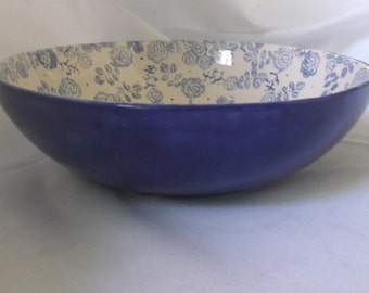 Ceramic Serving Bowl - Cobalt Blue and White Floral/ Rose
