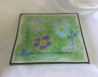 Fused Glass Square Bowl/ Dish - Flowers, green, purple, blue