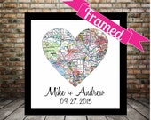 Unique Gay Wedding Gift for Gay Couple Map Art FRAMED Any Location Available Gay Marriage Gift Gay Couples Gift Map Heart Map