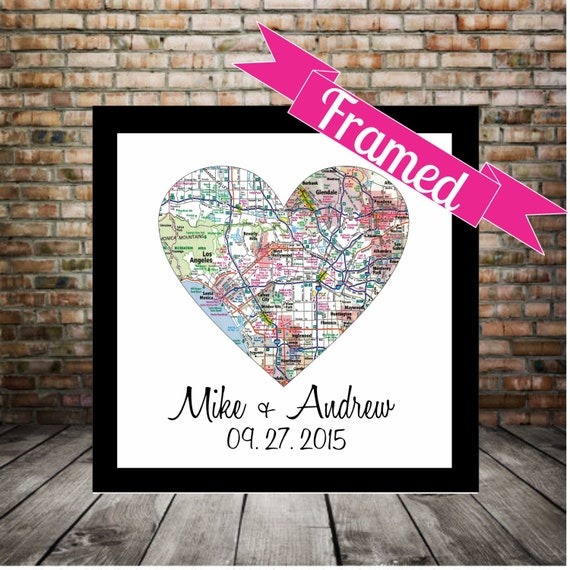 Wedding Gift Ideas For Gay Couples : Unique Gay Wedding Gift for Gay Couple Map Art FRAMED Any Location ...