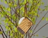 Wooden comb for boar bristle brush or hairbrush cleaning. Hairbrush cleaner. Small wooden comb by WildGood for natural hair care