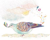Giclee Print 8 x 11, Turtle Dove Party, Archival Bird Print, Fine Art Paper A4