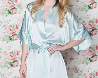Ready to ship - Samantha Silk bridal robe getting ready kimono in seafoam