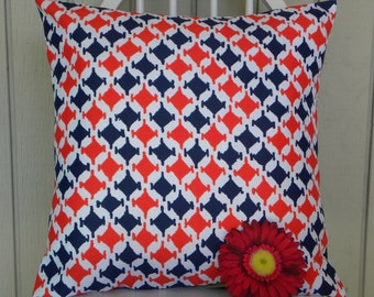 Pillow Cover - Vintage Mod Navy and Red Houndstooth Fabric - 18 x 18