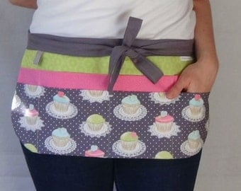 Utility Apron/Teacher Apron with 8 pockets and loop in cupcake fabric grey green pink blue white tan