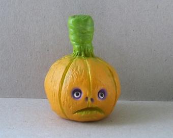 Polymer Clay Pumpkin Sculpture - Halloween Pumpkin Decor - The Classic Gourd - Fall Autumn Decor - OOAK