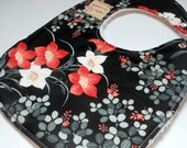 Asian Inspired Baby Girl Bib -Large Minky-Backed, Modern Drool Bib with Red and White Flowers on Black - Ready to Ship