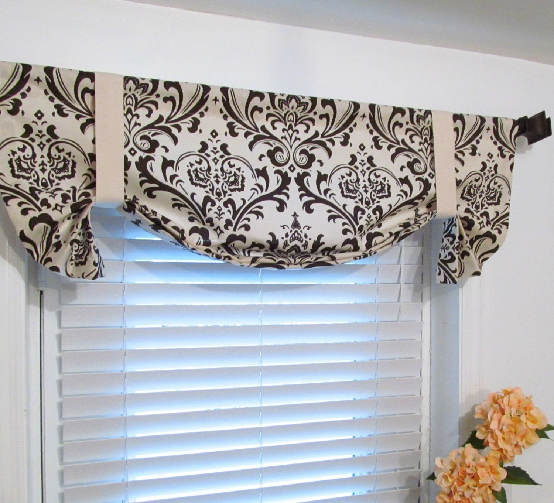 brown beige damask tie up lined valance custom sizing. Black Bedroom Furniture Sets. Home Design Ideas
