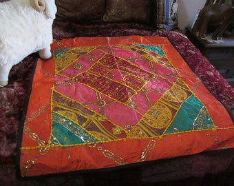 """38"""" x 38"""" Large Oriental Hand Stitched Art-Textile - Sequined and Embroidered in Silver and Gold Strings / Bed Throw / Wall Hanging"""