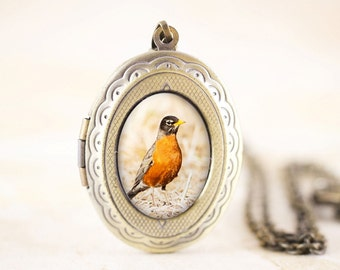Robin Locket - Red Robin Bird Locket, American Robin Jewelry, Bronze Bird Locket, Bird Photography, Spring Bird Gift, Woodland Bird Jewelry