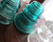 Insulators - Green Insulators - Clear Insulator - Set of Three