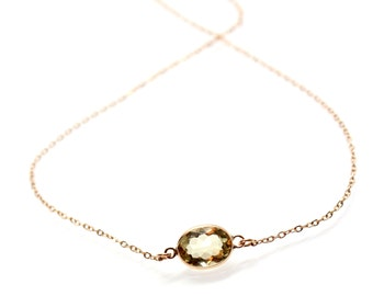 14k Solid Gold Lemon Yellow Topaz Solitaire Necklace - Small Gemstone Necklace  - Bridesmaids Jewelry -