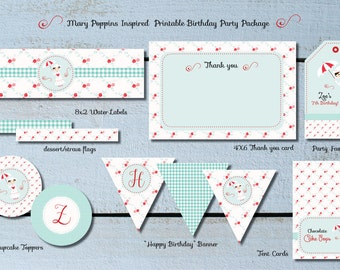 Mary Poppins Inspired Printable Complete Birthday Party Package
