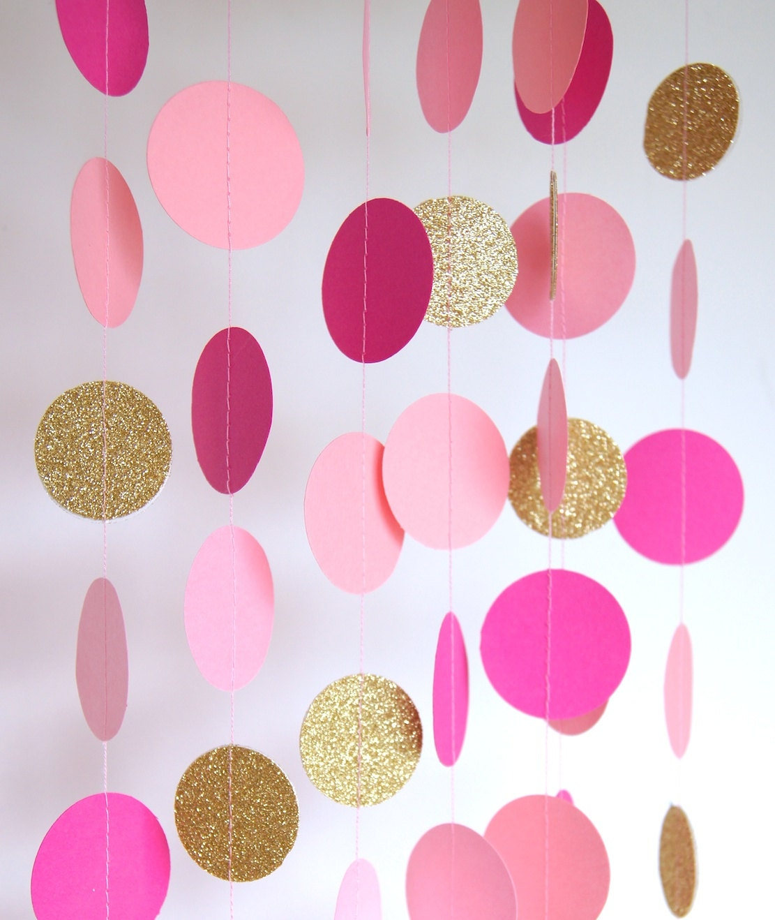 Garland in hot pink rose blush and gold double sided for Decoration murale rose gold