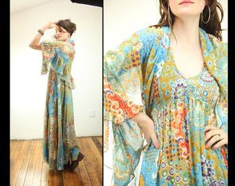 70s FIERCE BOHEMIAN Printed Cotton Sheer Goddess Maxi Dress, Small