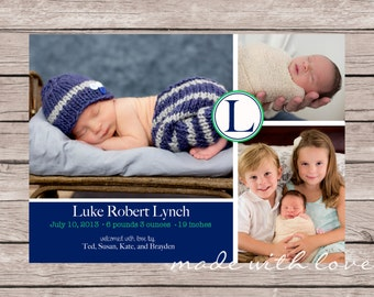 A simple and sweet photo birth announcement for boy or girl, personalized and printable, 5x7