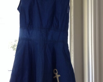 SALE ! 1940s Nautical Sun Dress Playsuit Medium  Anchor Appliqué