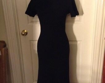 Pauline Trigere Black Knit Dress Curve Hugging Bombshell Sexy Secretary