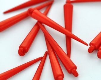 12 Red Acrylic Spikes for Hoop Earrings . Small . 35mm . cha0079