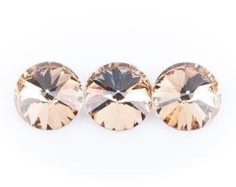 14mm Glass Crystal Rivoli Rhinestone Crystals, chaton, silver foil backing GOLDEN SHADOW, 4 pcs.  cry0080