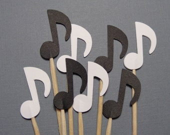 24 Black and White Music Note Cupcake Toppers - Food Picks - Party Picks